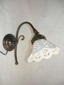 Appliques-Lampada-da-parete-in-ottone-con-ceramica