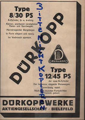 AnpassungsfäHig Bielefeld, Werbung 1924, Dürkopp-werke Ag Reise-sportwagen Type 8/30 Ps Auto Kfz Klar Und GroßArtig In Der Art