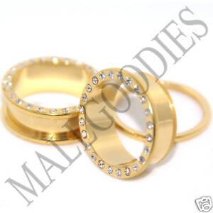 0400-Screw-on-fit-Gold-Clear-CZ-Flesh-Tunnels-1-034-One-Inch-Ear-Plugs-25mm-Steel