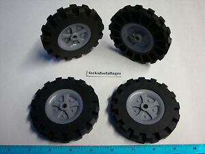 KNEX-WHEELS-4-Large-3-5-034-3-1-2-034-Tires-w-Gray-Pulleys-Rims-Hubs-Parts-Pieces-Lot