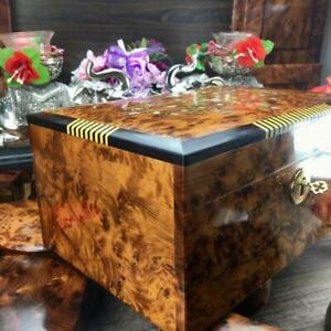 Keepsake decorative large box, thuya burl wooden engraved hand carved gift box