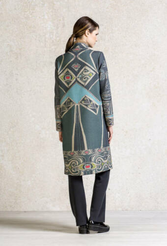 Coat 62603 Printed Floral Ivko Wolle Beige Painted White coffee Mantel Relief qYwx0YrHvX