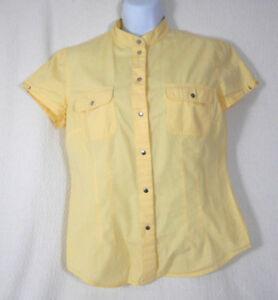 60beec3d Mexx Yellow Button Up Short Sleeve Cap Shoulder Blouse Size 8 | eBay