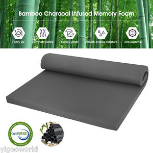 2 inch full size comfort bamboo charcoal memory foam mattress pad bed topper ebay. Black Bedroom Furniture Sets. Home Design Ideas