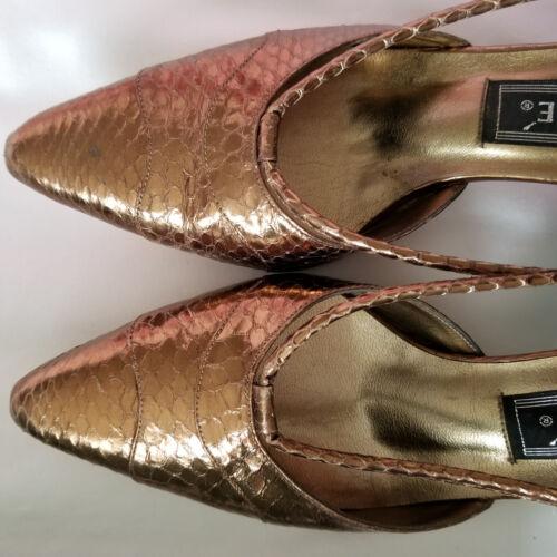 Look Metallic Heels 5 Reptile Uk4 Eu37 J Renee Brown Super Bronze 5 Kitten Faux Y706Rwq