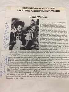 JANE-WITHERS-Vintage-Signed-Page-From-International-Doll-Academy-Awards-RARE