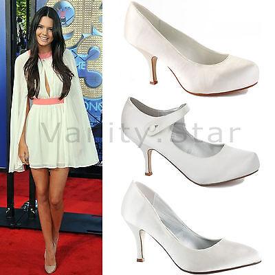 Para mujeres Damas Nupcial Boda Talón Mediados Marfil Blanco Plateado Baile de graduación Fiesta Zapatos Talla