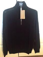 New Burberry Merino Wool Check Shoulder Sweater Black Sz M