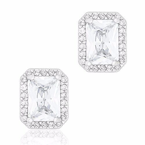 Drop Earring 18k White Gold Plated Cubic Zirconium Square Shape Halo Stud Earrings for Women/&Girls