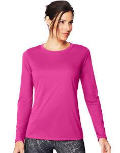 Hanes-Long-Sleeve-T-Shirt-Sport-Cool-DRI-Womens-Performance-Tee-Activewear-S-2XL