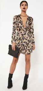 new authentic various styles los angeles Missguided Leopard Print Silky Wrap Knot Plunge Shift Dress- Size ...