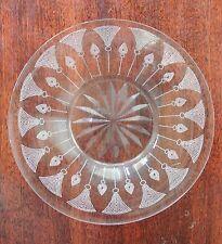 "Four Elegant Cut Glass Etched 6-1/4"" Bread Butter Dessert Plates"