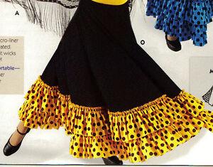 NWT-Mainstreet-Flamenco-Drawstring-Skirt-dotted-Ruffle-ch-ladies-Gold-Black