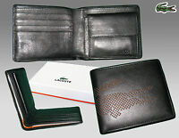 Authentic Lacoste Leather Wallet Punched Croc 6 Black Small Billfold +cp