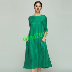 occident-Summer-Women-Real-Silk-Half-Sleeve-Loose-casual-Long-Dresses-Oversize