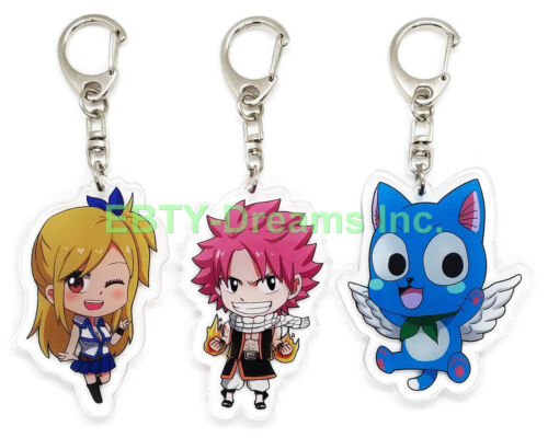 Set of 3 Fairy Tail Anime Acrylic Keychain Natsu Dragneel Lucy Heartfilia Happy
