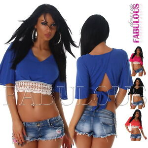 Sexy-Women-039-s-Ladies-Crochet-Lace-Crop-Top-Blouse-V-Neck-Back-Tie-Size-8-10-S-M