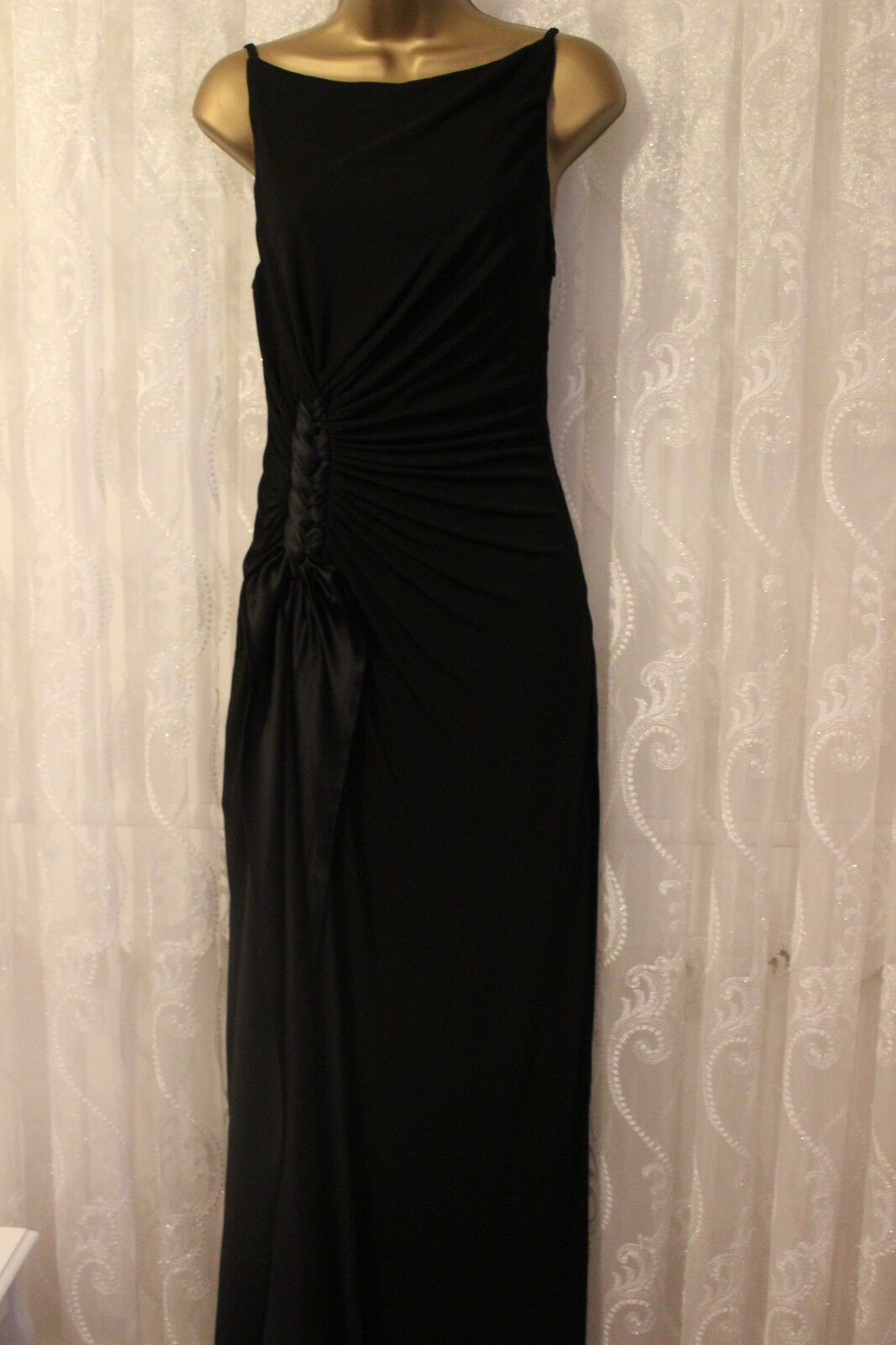 Karen Millen Strappy Plait Jersey Drape Slinky Maxi Wedding Party Dress 10 38