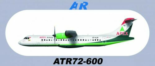 "7.87""*3.46"" Apex Airlines ATR72-600 Sticker 1 PC About 20*8.8CM"