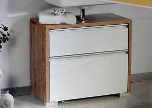 Das Bild Wird Geladen Exklusiver Waschbecken Unterschrank  Mit Kosmetikeinsatz Wildeiche NEU