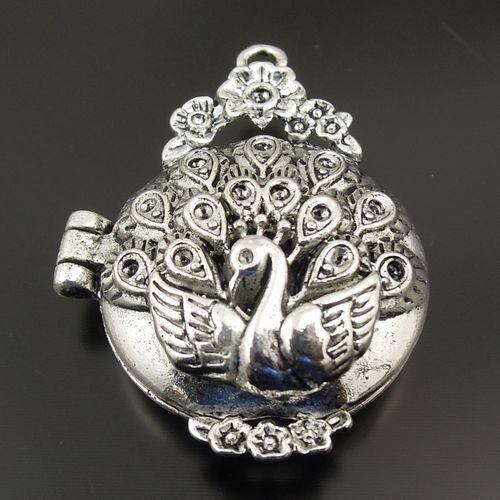 Vintage Silver Tone Peacock Look Locket Prayer Box Pendant Jewelry Accessory 3pc
