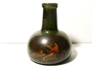 18thC Wide Mouth Onion Wine Bottle Oil Painting Scene Smokers in Tavern READ !