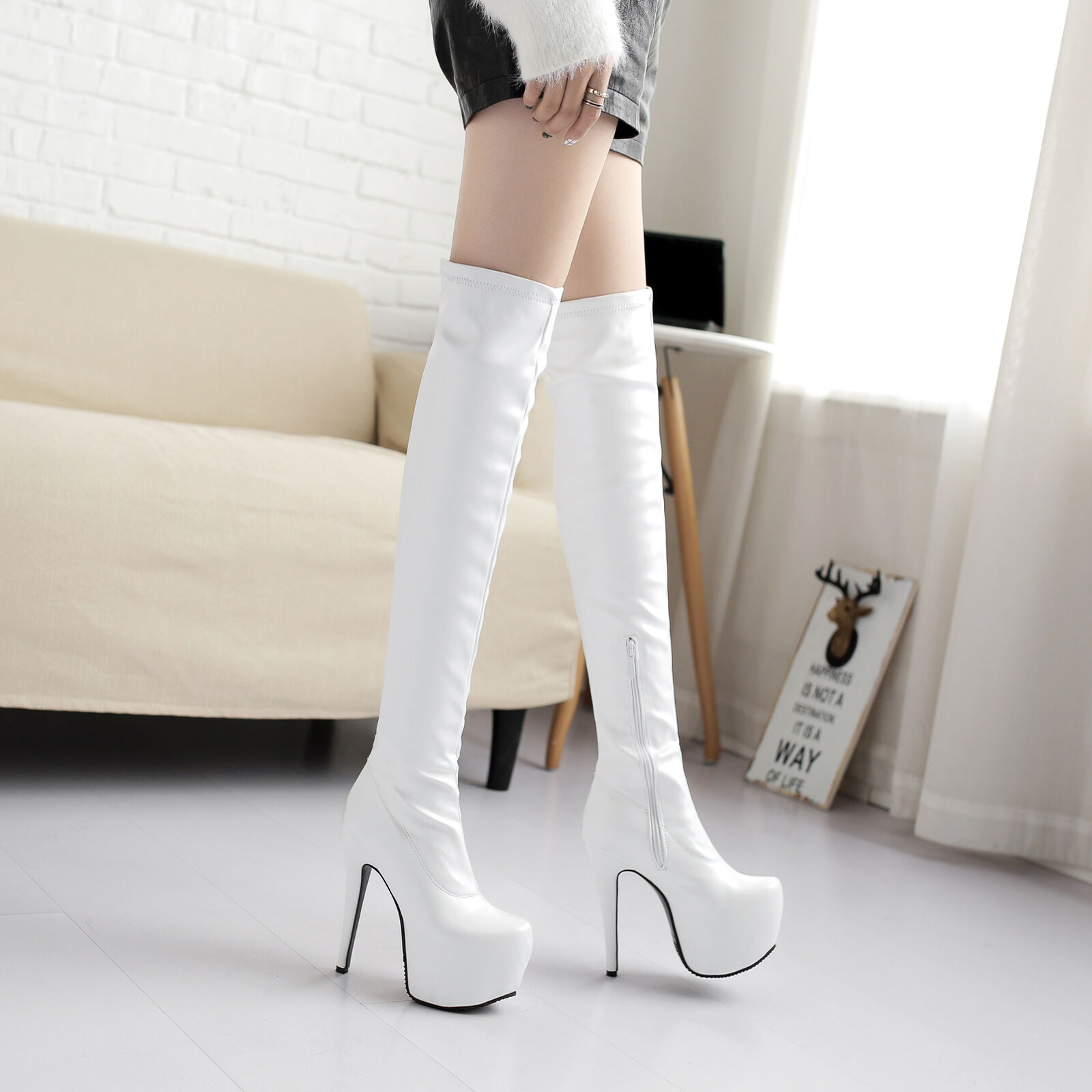 2019 New Donna Leather Club Shoes Synthetic Leather Donna High Heels Zip Over Knee Boots 37e7ef