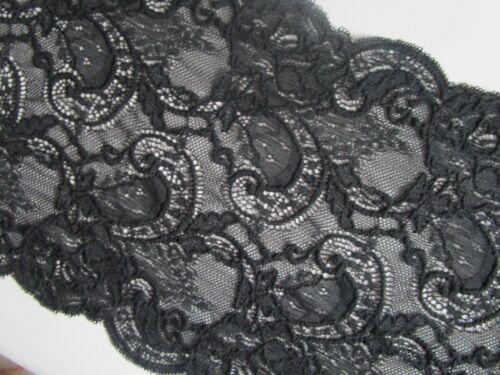 Spitze Schwarz 0,5 Meter   elastisch 19,3 cm breit Borte  N 02