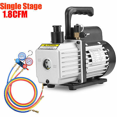 1.8CFM Single Stage 1/4HP Vacuum Pump Manifold Gauges Refrigerant Air Condition