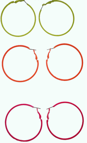 dangle earrings thin hoop drop choice of bright neon colour new 6cms