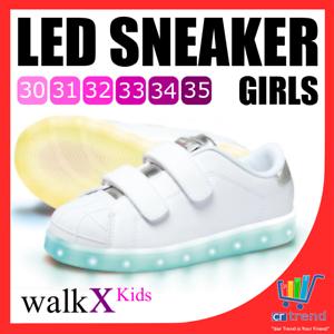 Ausdrucksvoll Walkx Led Kinder Sneaker Schuhe 30 31 32 33 34 35 Für Mädchen Girl Shoe White