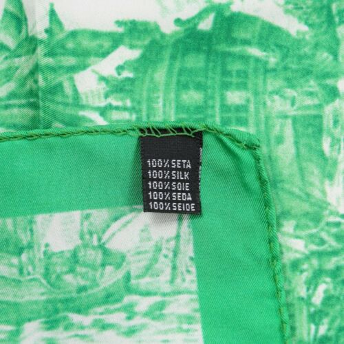 Kiton Napoli Bright Green Naval Battle Print Silk Pocket Square