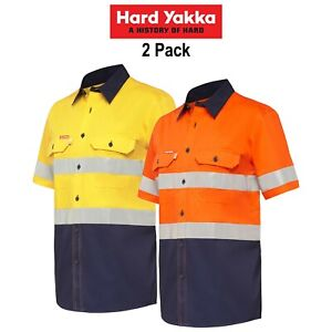 Mens-Hard-Yakka-Long-Sleeve-Work-Shirt-2PK-Hi-Vis-Taped-KoolGear-Summer-Y07735