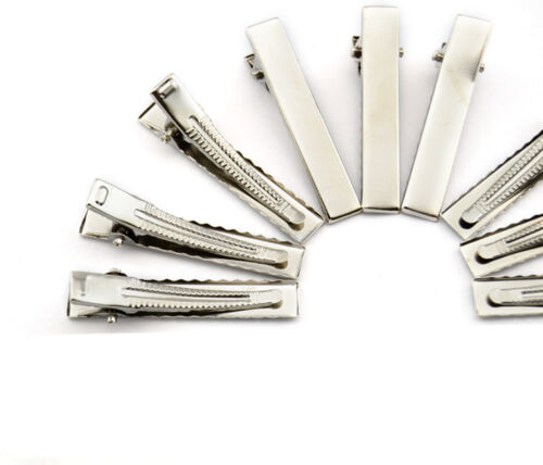 1 10 50 100PCS Small Medium Lot Argent Crocodile Alligator Bow Blank clips cheveux