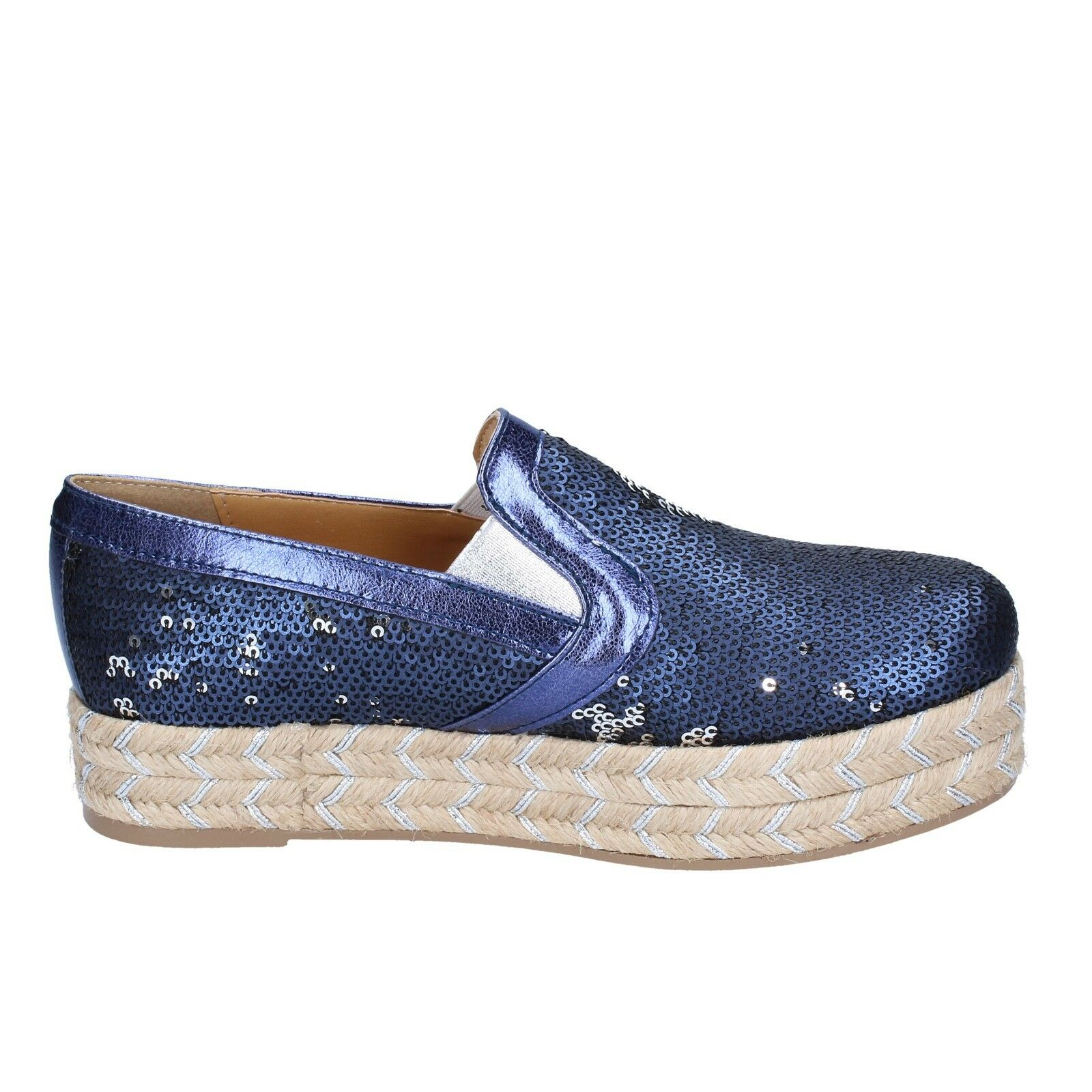 Damens's schuhe OLGA RUBINI 3 (EU 36) espadrillas slip on pailettes Blau pailettes on BS110-36 088fa8