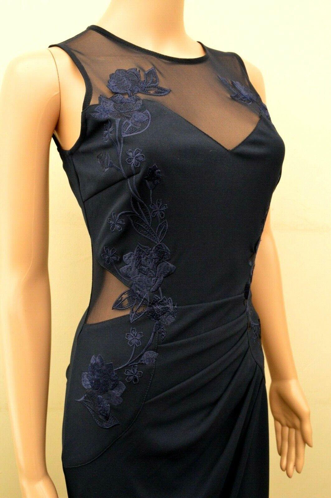 New Lipsy Floral Embroiderot Navy Maxi Dress Sz UK 10
