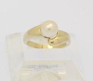 Ring-in-aus-585er-14-kt-Gelb-Gold-mit-Perle-Zuchtperle-Goldring-Perlenring-Gr-53