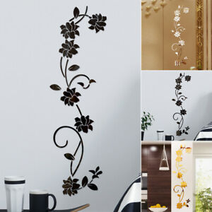 3D Wall Sticker Mirror Flower Vine DIY Home Room Art Mural Decorations Removable
