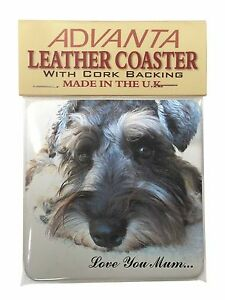 Schnauzer Dog 'Love You Mum' Single Leather Photo Coaster Animal Br, AD-S68LYMSC
