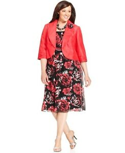 Details about Le Bos Women Plus Size Dress & Jacket Sleeveless Printed  rosette brooch Size 22W