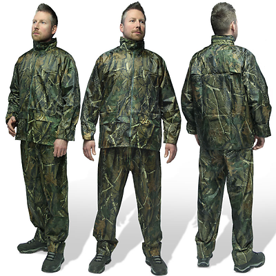 Fishing Hunting Camo Waterproof Clothing Jacket + Trouser Rain Suit + Bag Carp Rijden Met Een Brullende Handel