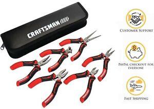 Craftsman 6 Piece Mini Pliers +pouch Set Diagonal Needle Long Flat Bent Nose End