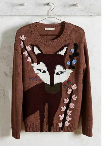 Anthropologie Paul And Joe Sister  Intarsia Fox Sweater XS and M New  MSRP