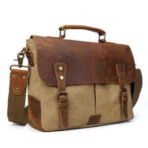 Herren-Leder-amp-Leinwand-14-039-039-Laptop-Aktentasche-Schultertasche-Satchel-Handtasche