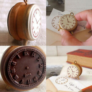 Diary-Scrapbook-Decor-DIY-Vintage-Seal-Alarm-Clock-Wooden-Wooden-Rubber-Stamp