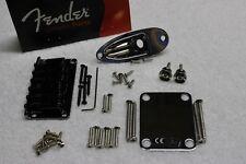 New Fender Hardtail Black Nickel Chrome Stratocaster Body HARDWARE SET - Strat