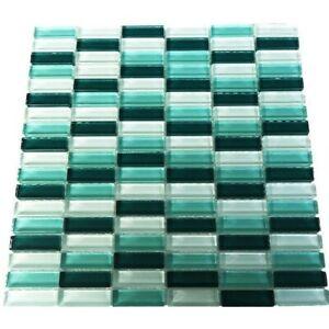 Glasmosaik grün mix, 1,5x4,8x0,8 cm, Kristallglas, 1qm ...