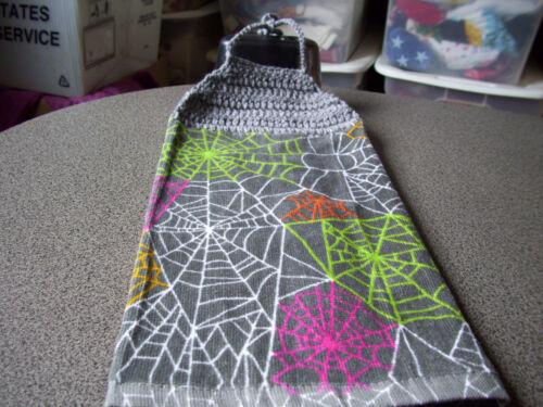 Halloween  Spider Webs Tie up Hanging Crochet Top Kitchen Towel Gray