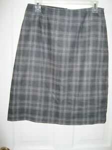 1c158a34ed LADIES OLD NAVY GRAY PLAID WOOL/POLYESTER LINED SKIRT, SIZE 6 BACK ...