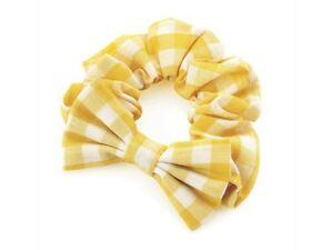 Girls-Yellow-Gingham-Check-Bow-Summer-School-Hair-Scrunchie-Elastic-Bobble